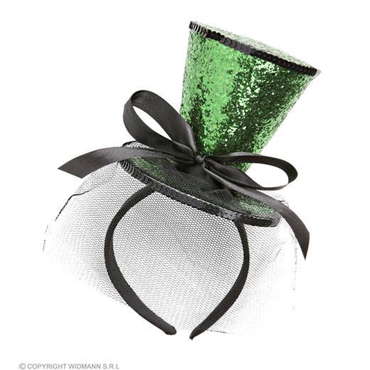 groene mini hoge hoed met sluier