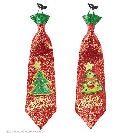 glitter stropdas kerstboom, 2 kleuren ass.