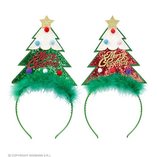 glitter hoofdband kerstboom, 2 kleuren ass.