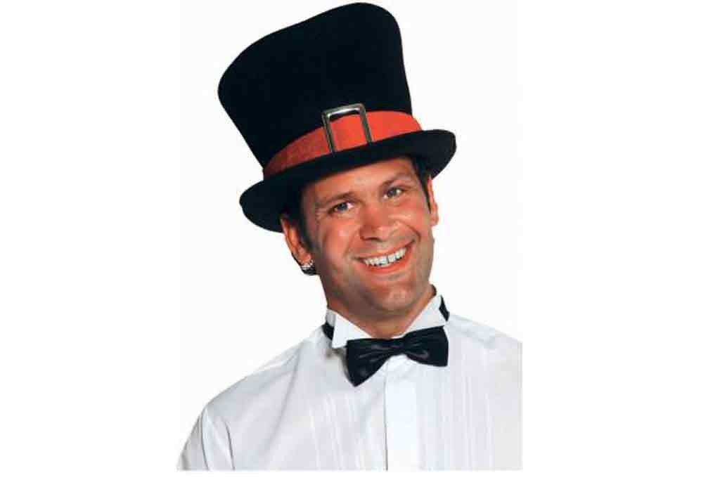 Hoge hoed met rode band