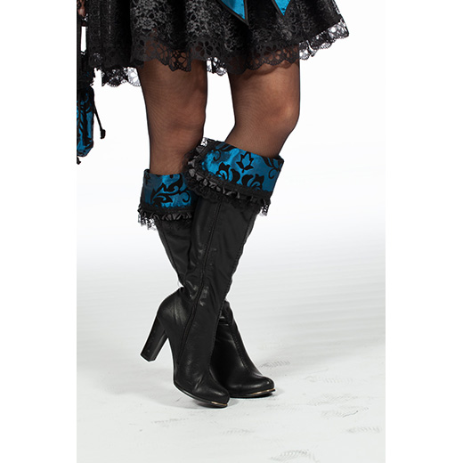 Beenkappen zwart met blauw