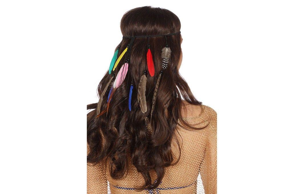 Haarband met gekleurde veren