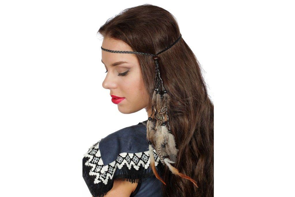 Haarband gevlochten met veren
