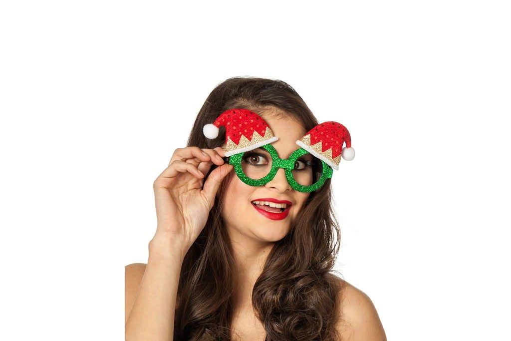 Bril groen met kerstmuts pailletten