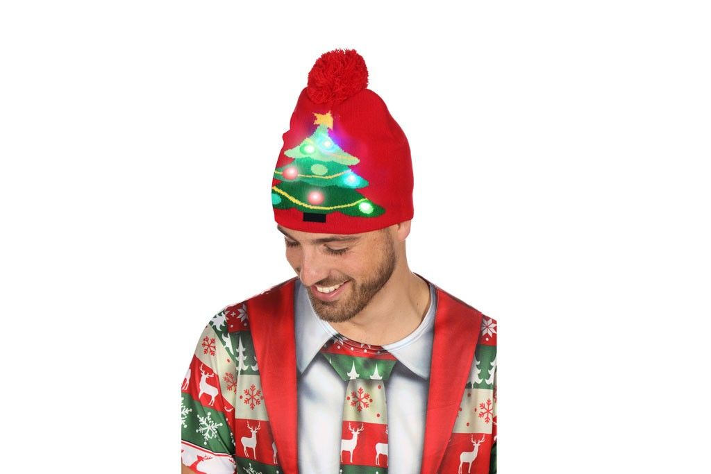 Kerstmuts Met Licht : Muts met kerstboom rood met licht robbies feestkleding