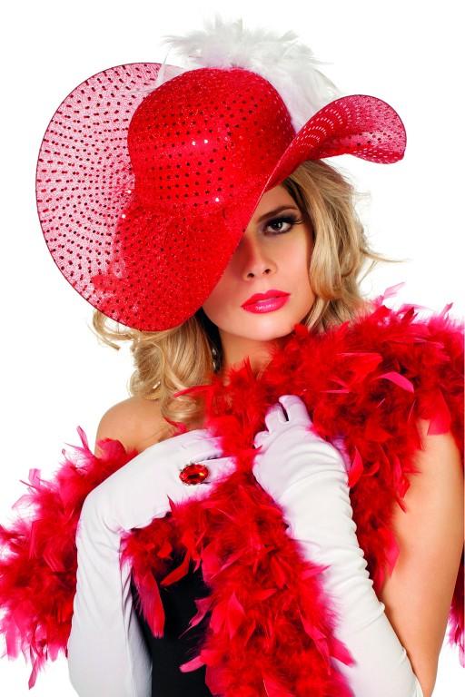 Golvende hoed pailletten rood