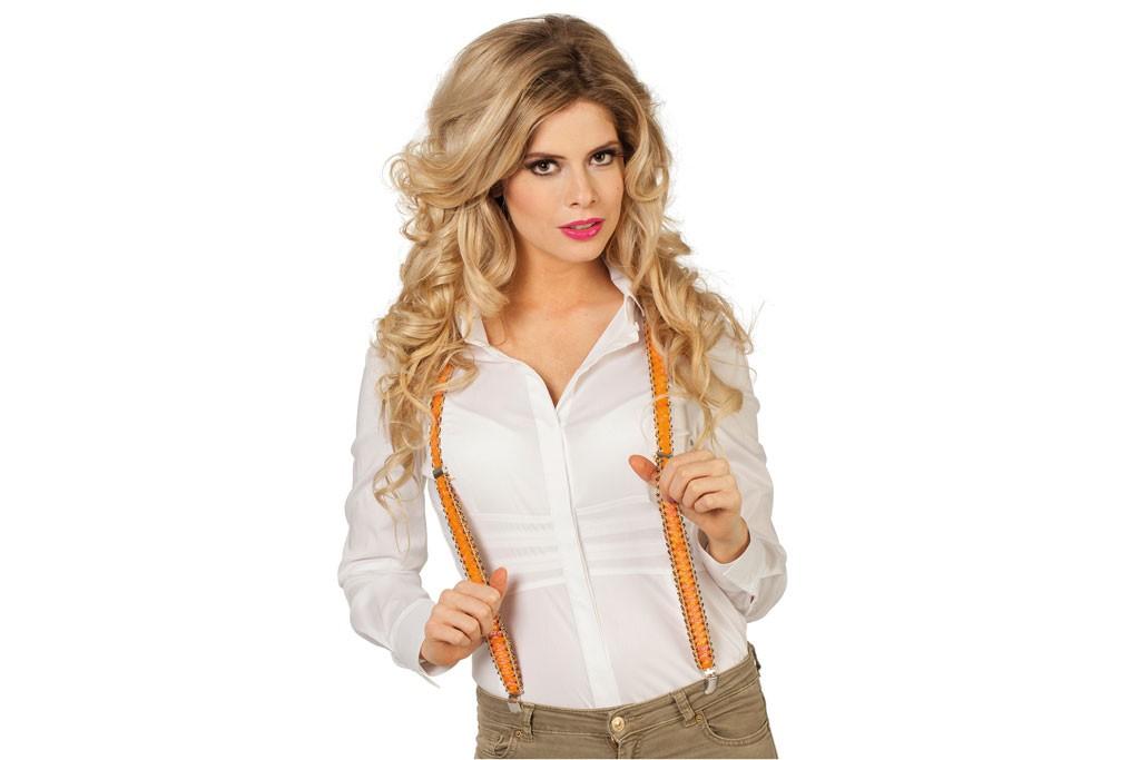 bretels pailletten oranje