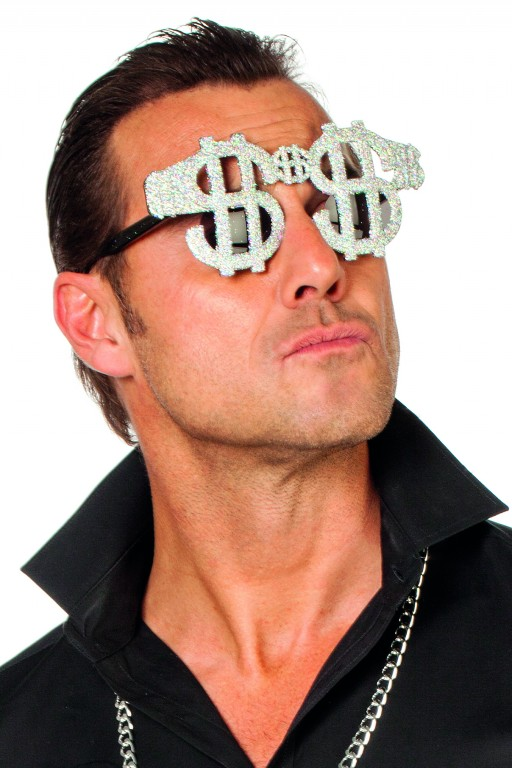 Bril dollar glitter zilver
