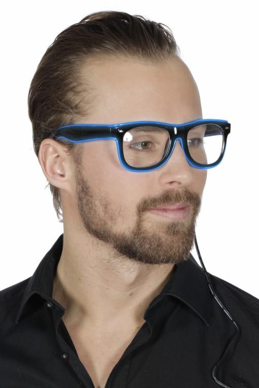 Bril met licht, blauw