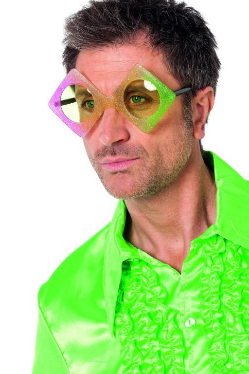 Bril regenboog disco vierkant