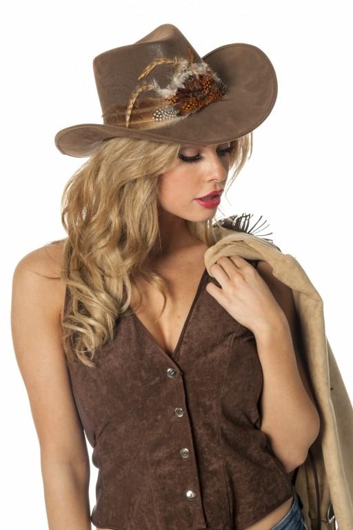 Cowboyhoed met veren