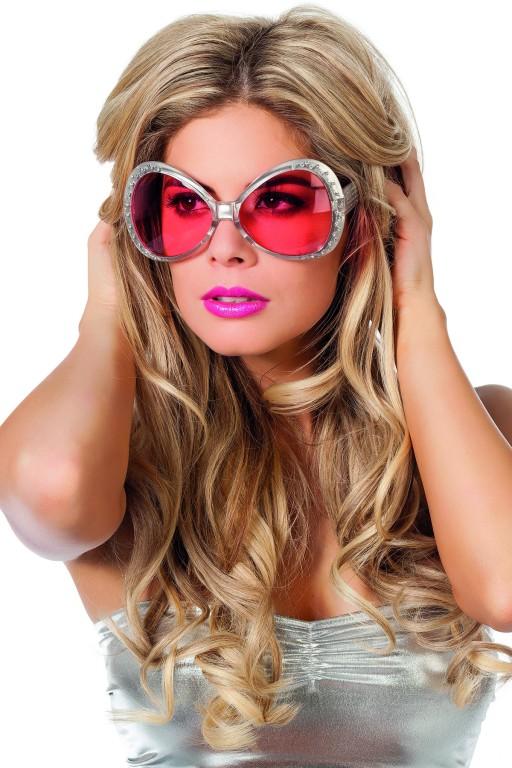 Grote bril met steentjes zilver met roze glazen
