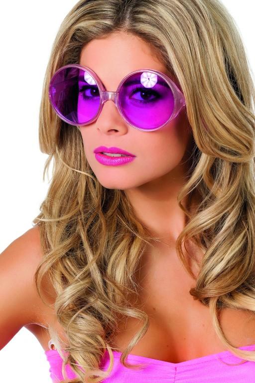 Bril grote ronde glazen roze