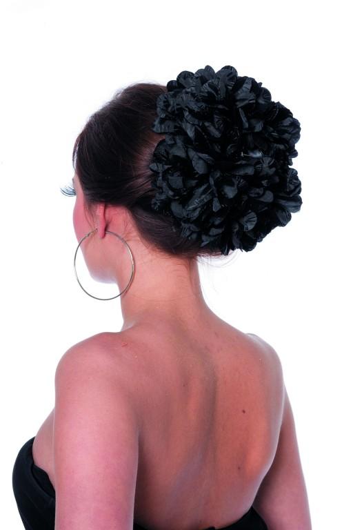 Haarclip bloem zwart