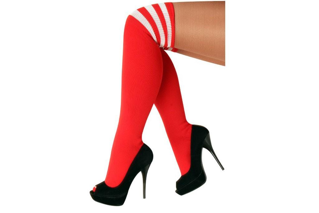 Cheerleader kousen rood met wit