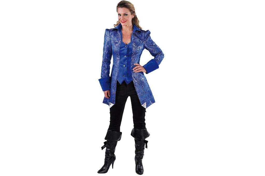 Carnavalsjasje luxe met brokaat blauw