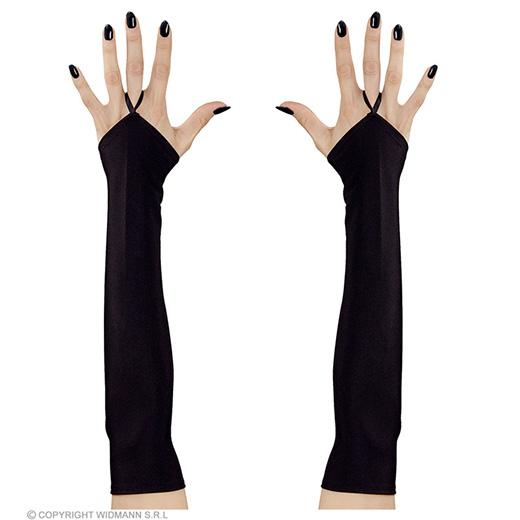 vingerloze handschoenen satijn, zwart