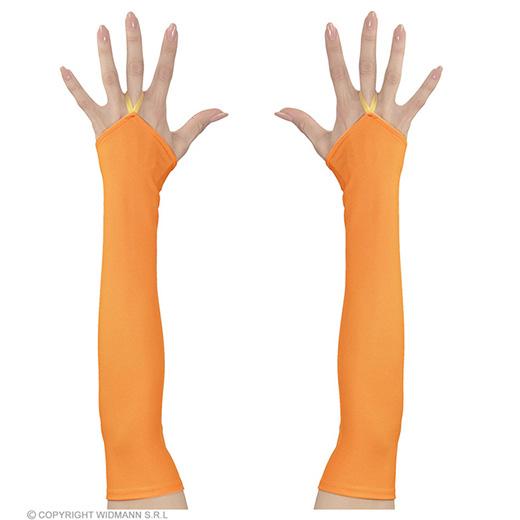 vingerloze handschoenen satijn, neon oranje