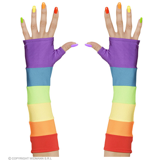 vingerloze handschoenen satijn, regenboog kleuren