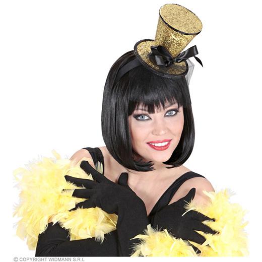 gouden mini hoge hoed met sluier