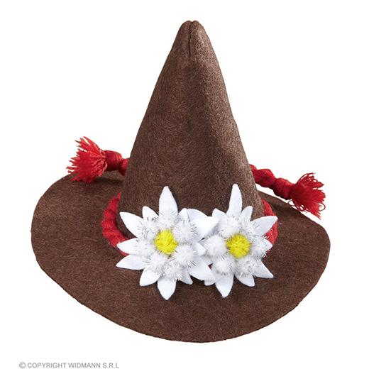 mini bayern hoed met edelweiss, bruin