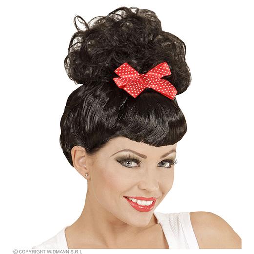 pruik, rock pin up girl zwart met rode strik