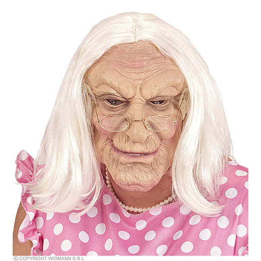 masker oude vrouw met haar