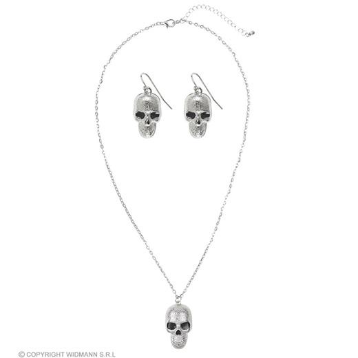 ketting zilver met schedels + oorringen