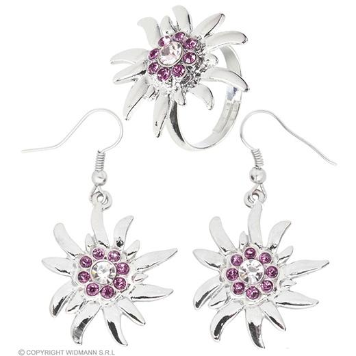 oorringen en ring edelweiss
