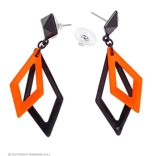 oorbellen ruit neon, zwart/oranje
