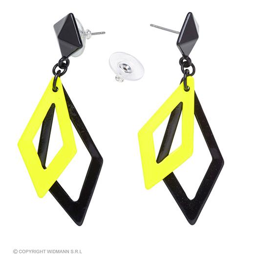 oorbellen ruit neon, zwart/geel
