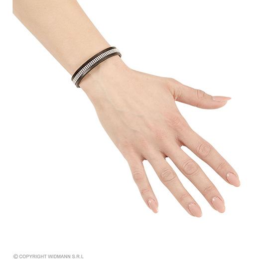 armband zwart leer met nagels
