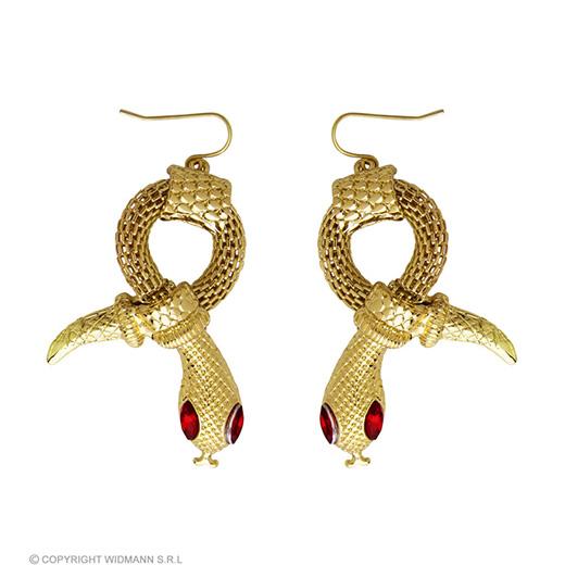 oorbellen slang van goud met rode steen ogen