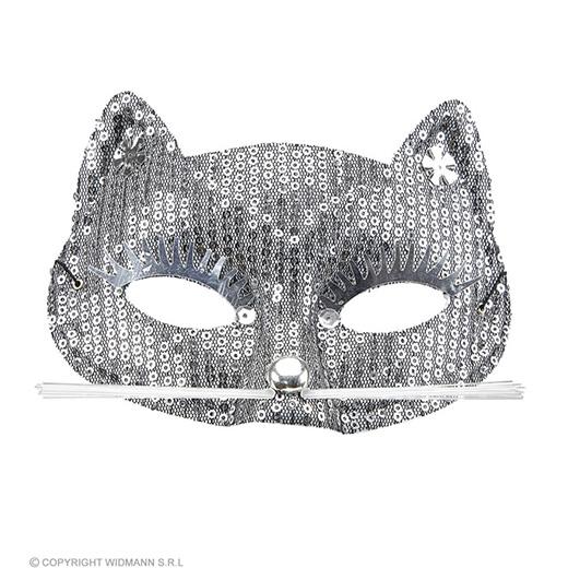oogmasker kat met zilveren pareltjes
