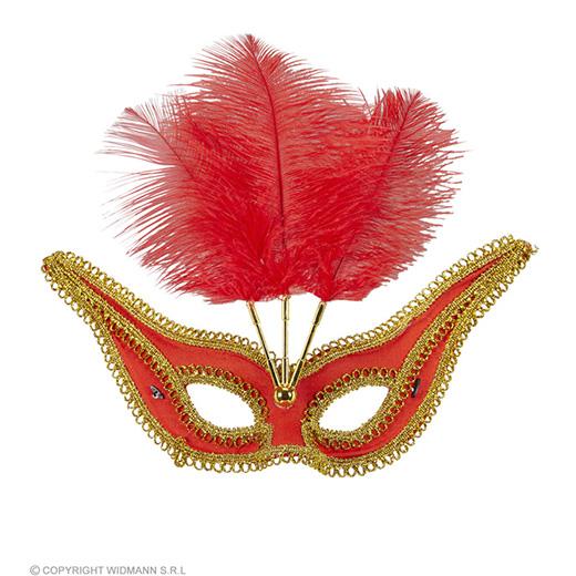 oogmasker rood met goud en veren