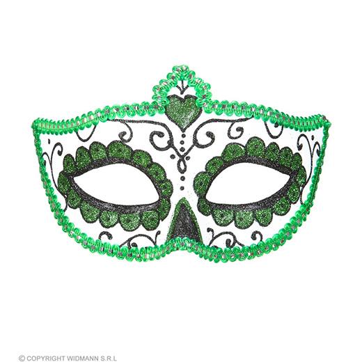 oogmasker dia de los muertos zwart & groen