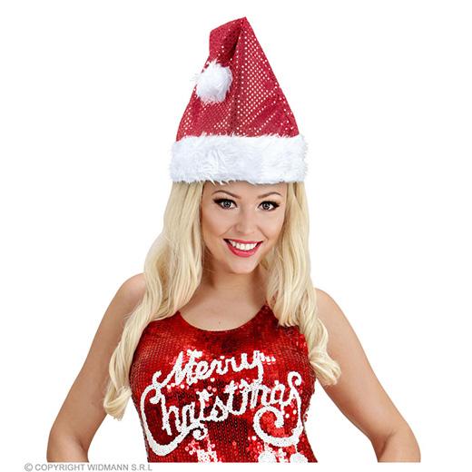 kerstmanmuts glitter, rood