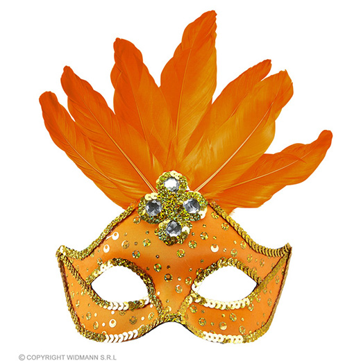 oogmasker brazilie met veren en parels, neon oranje