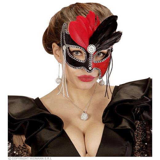 oogmasker grand ball, zwart/rood