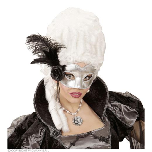 oogmasker venetie zilver met veren