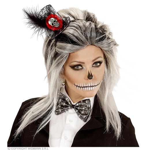 hoofdband met minihoedje en strikje, metalic