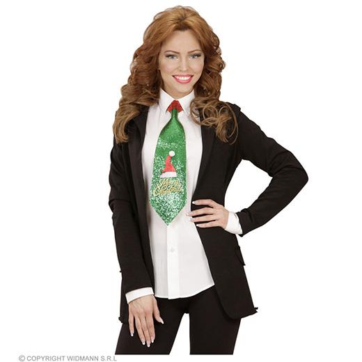 glitter stropdas kerstmanmuts, 2 kleuren ass.