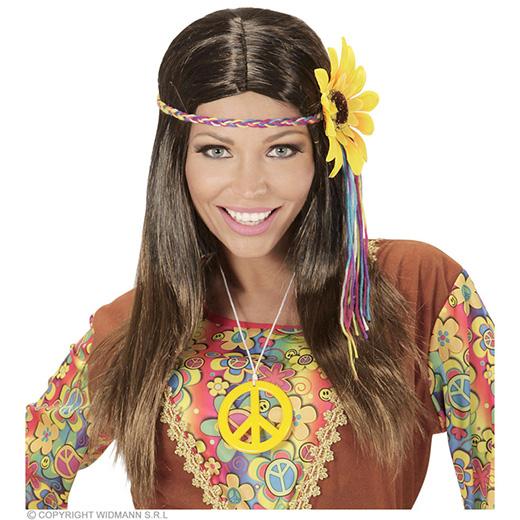 pruik, hippie bruin met meerkleuren bloem hoofdband