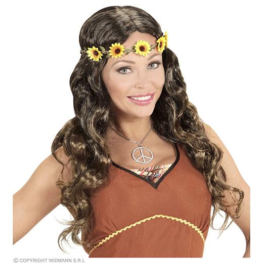 pruik, hippie bruin met zonnenbloem hoofdband