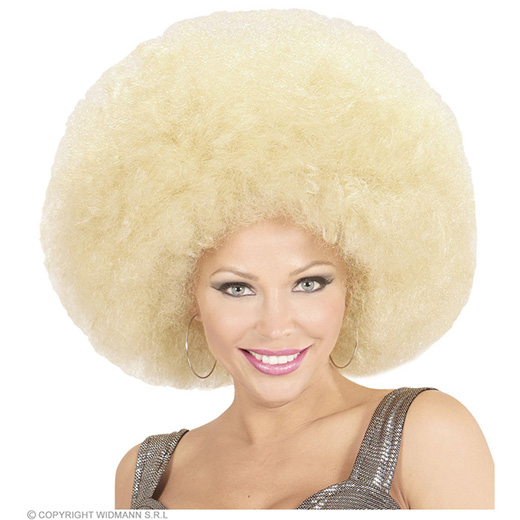 pruik, afro extra groot blond