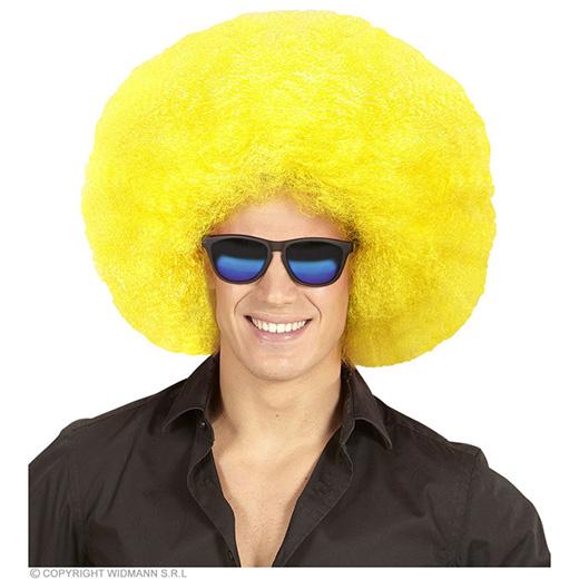 pruik, afro extra groot geel