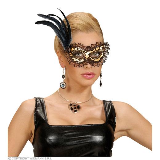 oogmasker, goud met stof en veren