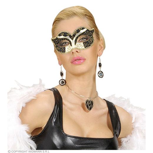 oogmasker hertogin, zwart/goud glitter
