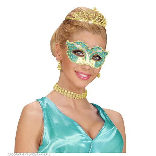 oogmasker hertogin, azuur/goud glitter