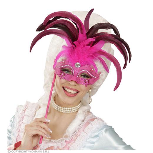 oogmasker met stokje, rose luxe versie